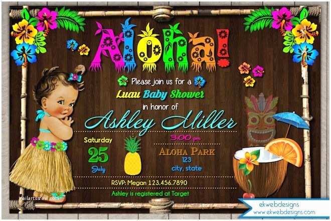 Luau Baby Shower Invitations Luau Hawaiian Baby Shower Invitation Vintage Luau Baby