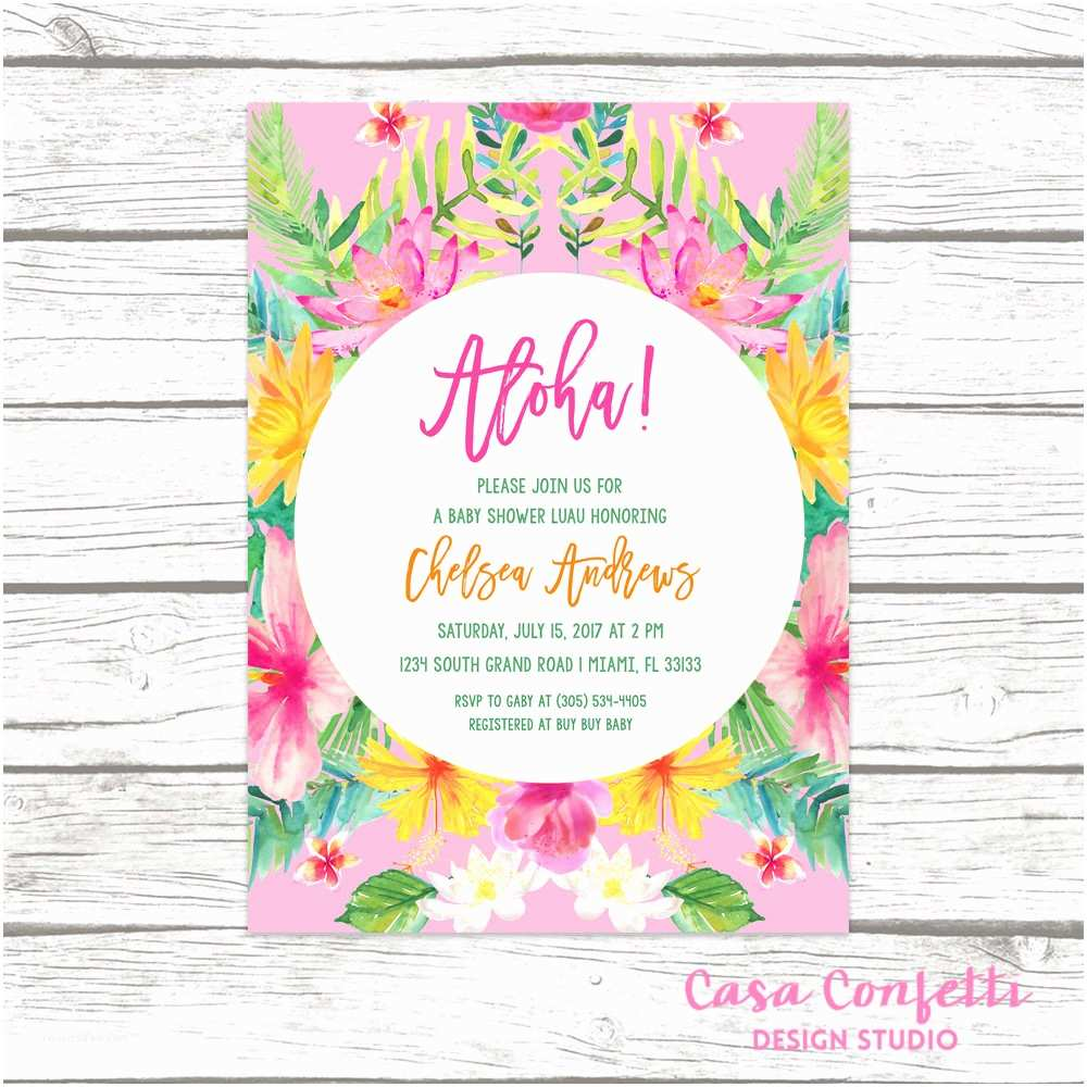 Luau Baby Shower Invitations Tropical Baby Shower Invitation Luau Baby Shower