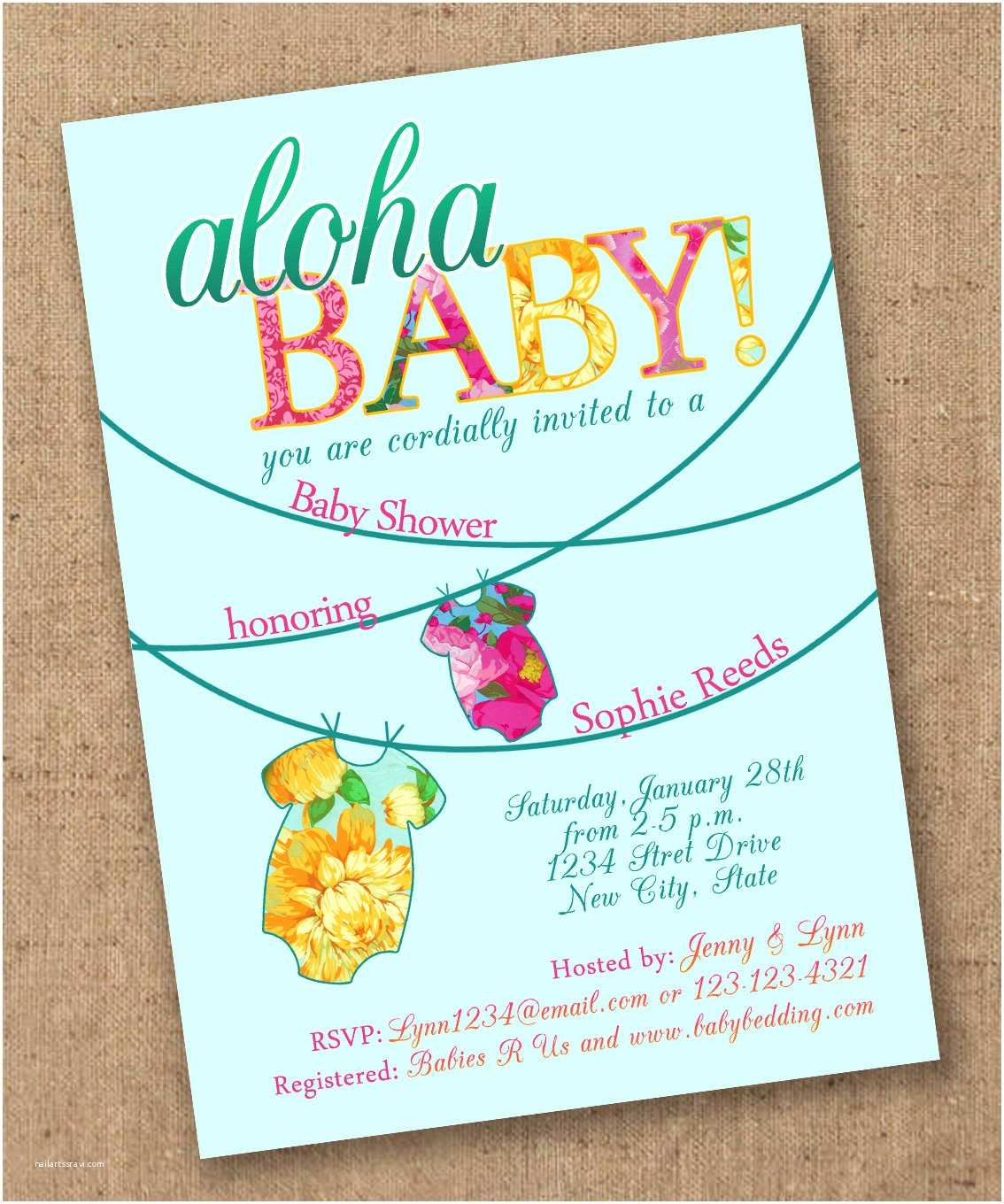 Luau Baby Shower Invitations Tropical Esie Luau Baby Shower Invite by Lovesweetpeacards