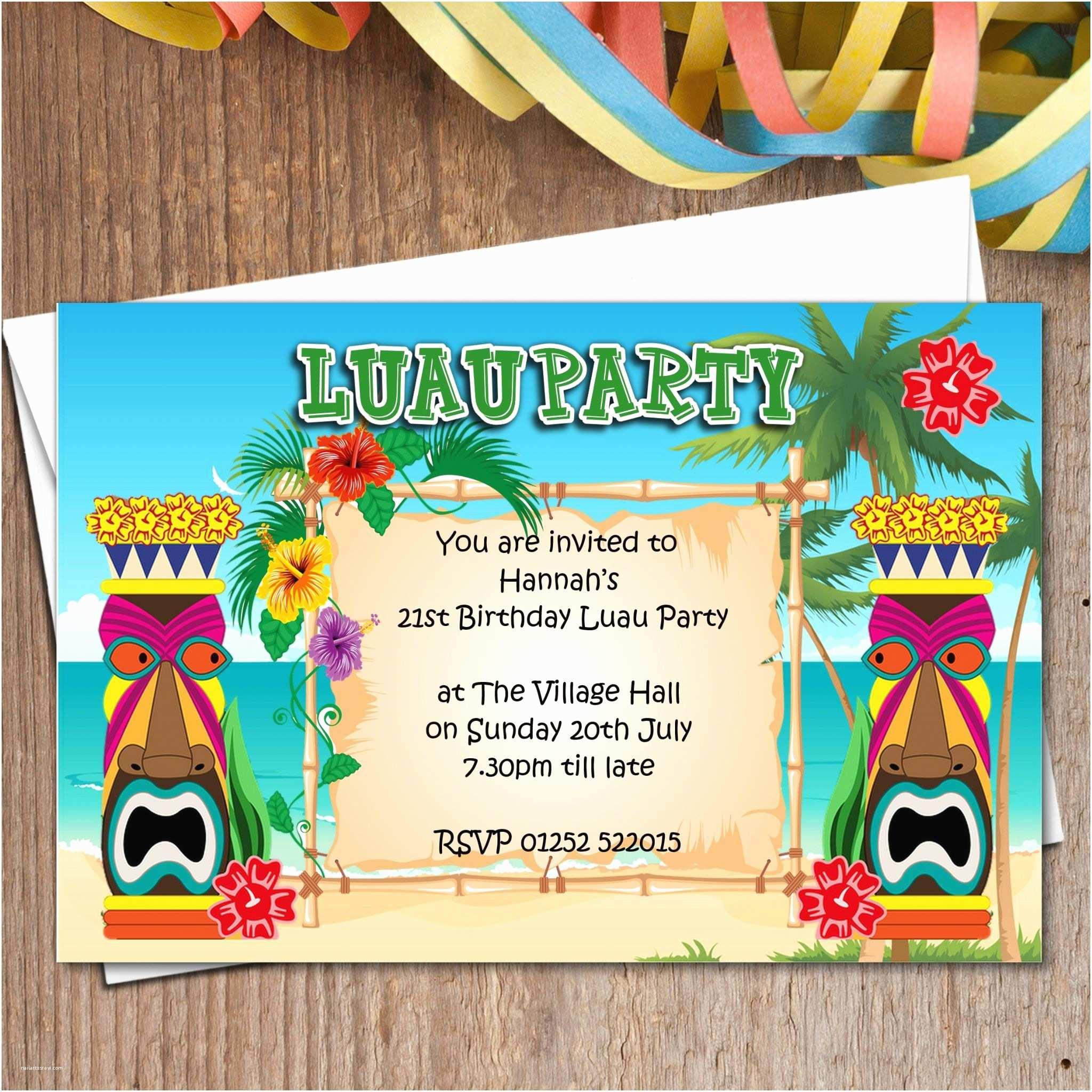 Luau Birthday Invitations 10 Personalised Luau Hawaii Party Invitations N165