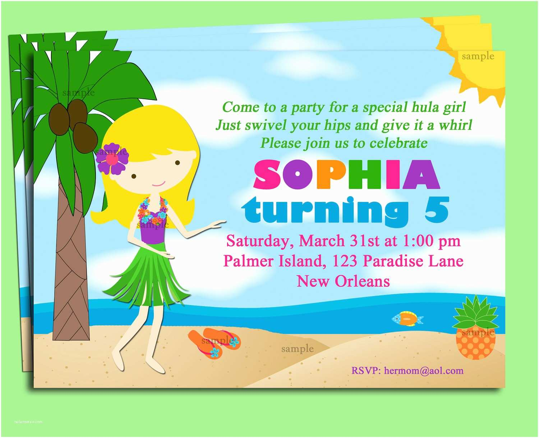 Luau Birthday Invitations Invitation Printable Or Printed With Free