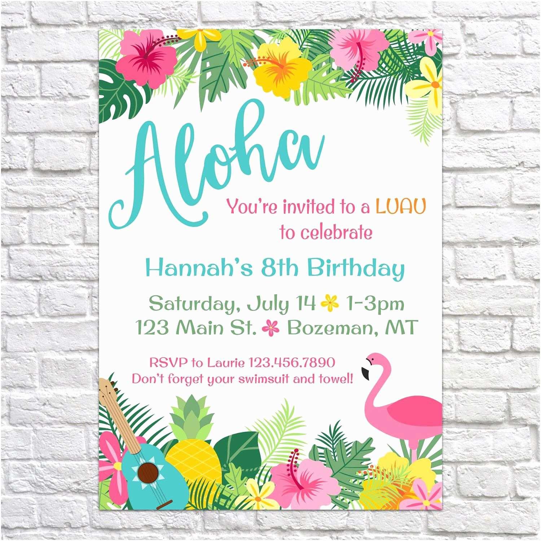 Luau Birthday Invitations Invites Aloha Pineapple Summer