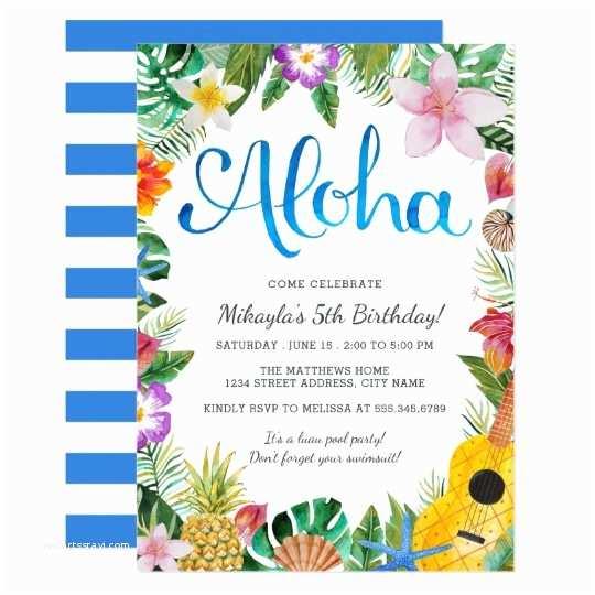 Luau Birthday Invitations Watercolor Tropical Luau Birthday Party Invite