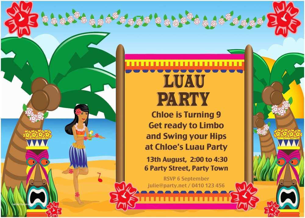 Luau Birthday Party Invitations Hawaiian Luau Party with Desert Table and Games — Chic