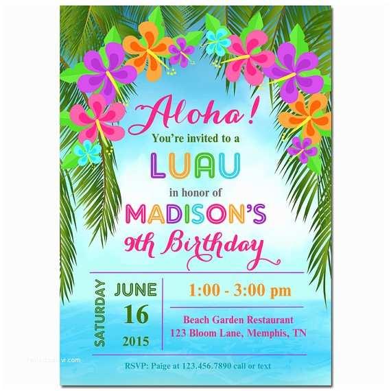 Luau Birthday Party Invitations Luau Invitation Printable or Printed with Free Shipping