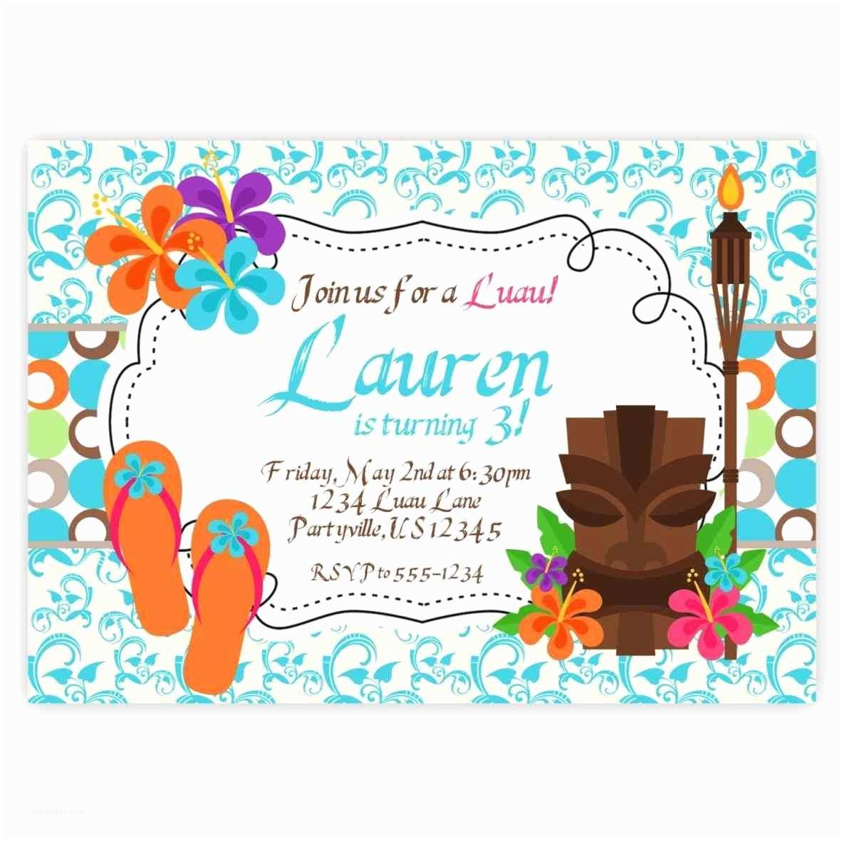 Luau Birthday Party Invitations Print at Home Diy Invitation Blank Luau Party Invitations