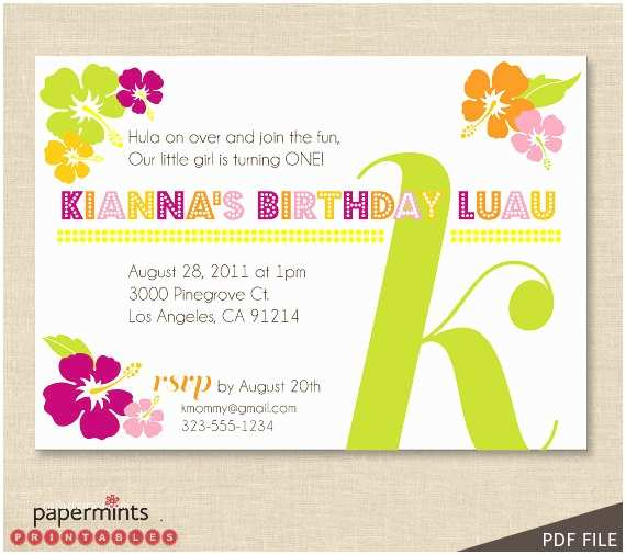 Luau Birthday Party Invitations Printable Hawaiian Luau Party Invitation by