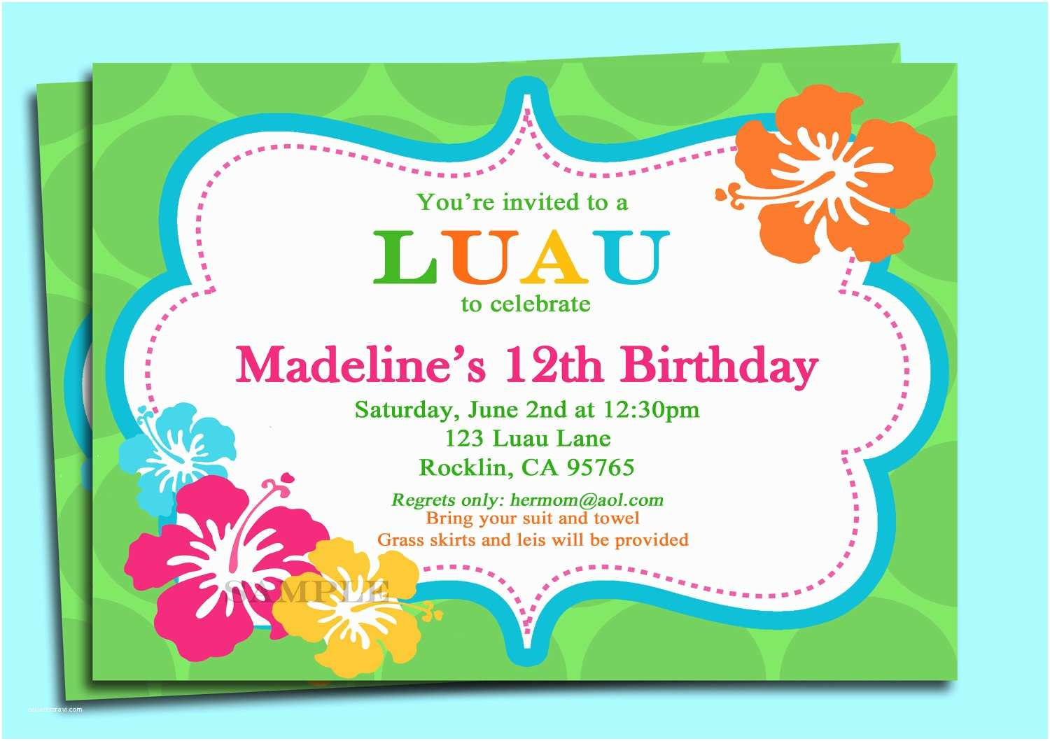 Luau Party Invitations 9 Best Of Free Printable