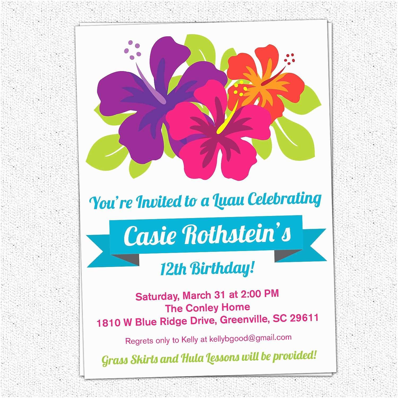 Luau Party Invitations Luau Birthday Invitations Summer Party Hibiscus Flowers