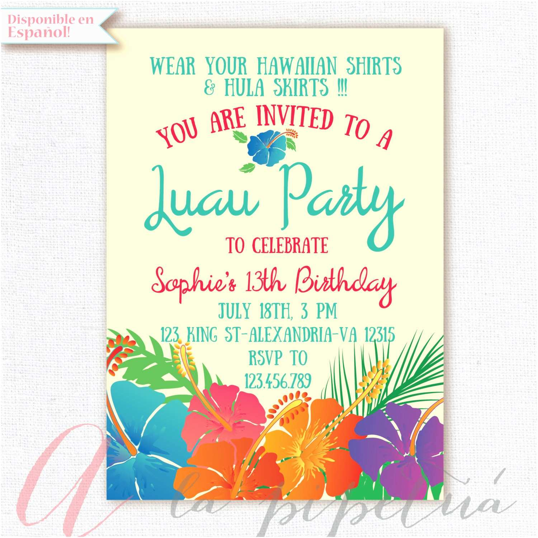 Luau Party Invitations Luau Invitation Birthday Party Hawaiian Party Invitation