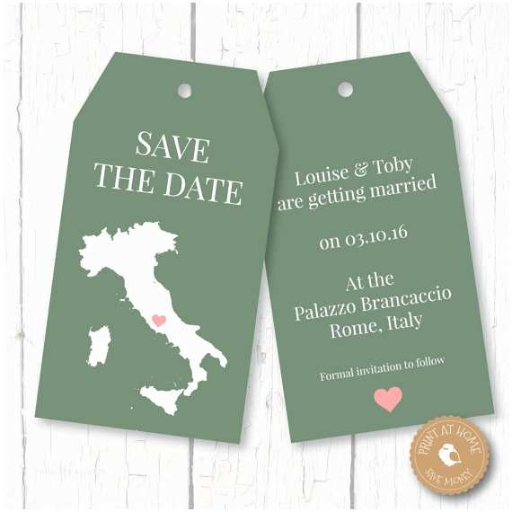Luggage Tag Wedding Invitations Italy Map Wedding Luggage Tags Save the Date Invitation