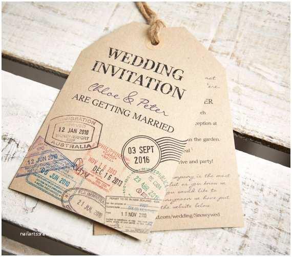 Luggage Tag Wedding Invitations Vintage Style Kraft Luggage Tag Wedding Invitations and