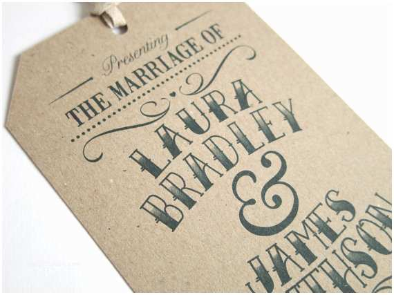 Luggage Tag Wedding Invitations Vintage Tag Wedding Invitation Gift Tag Luggage Tag Eco