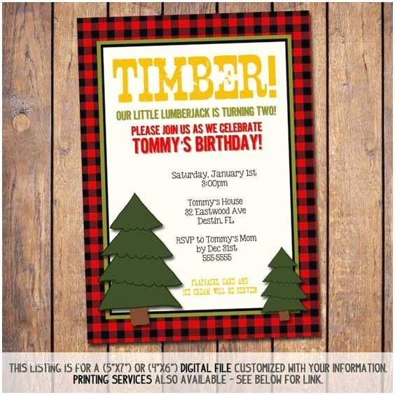 Lumberjack Birthday Party Invitations Boy Birthday Invitations Lumberjacks and Boy Birthday On