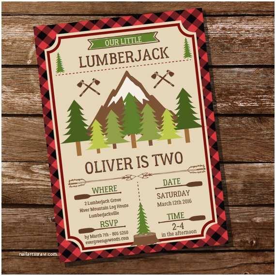 Lumberjack Birthday Party Invitations Little Lumberjack Birthday Invitation Plaid by Sunshineparties