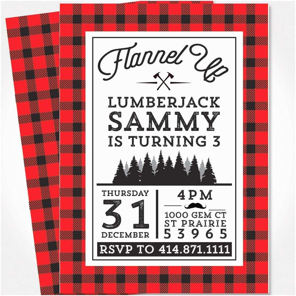 Lumberjack Birthday Party Invitations Lumberjack Birthday Invitation Lumberjack Party Flannel