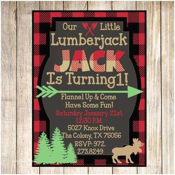 Lumberjack Birthday Party Invitations Lumberjack Flannel Birthday Party Printable Invitations
