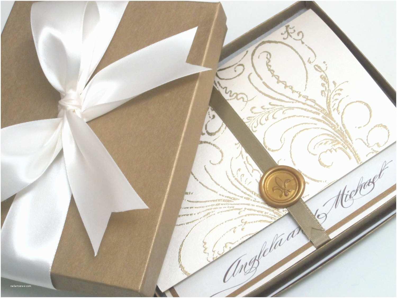 Luxury Boxed Wedding Invitations Boxed Wedding Invitation Regal Cream Marie Antoinette
