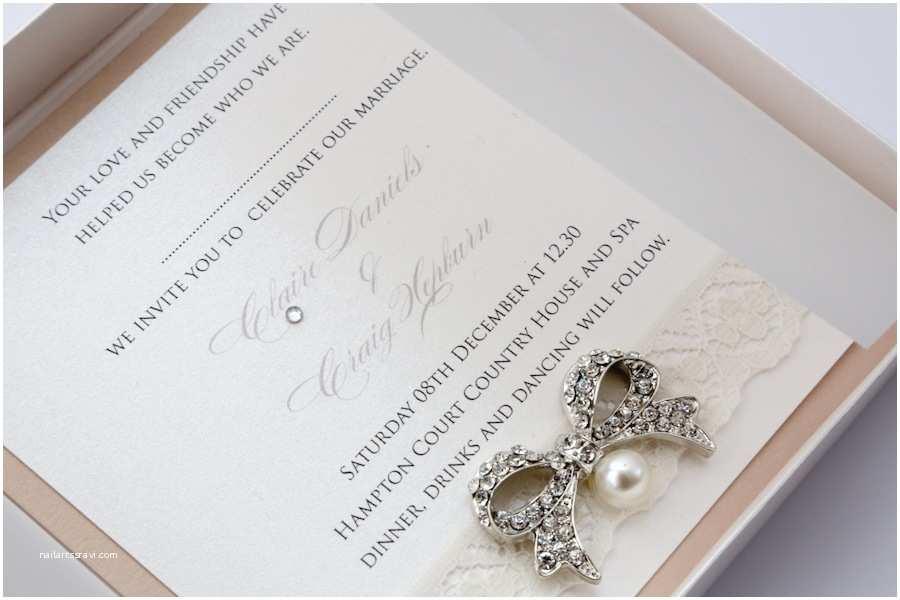 Luxury Boxed Wedding Invitations Luxury Ivory & Mink Bow & Lace Invitation Boxed Vintage