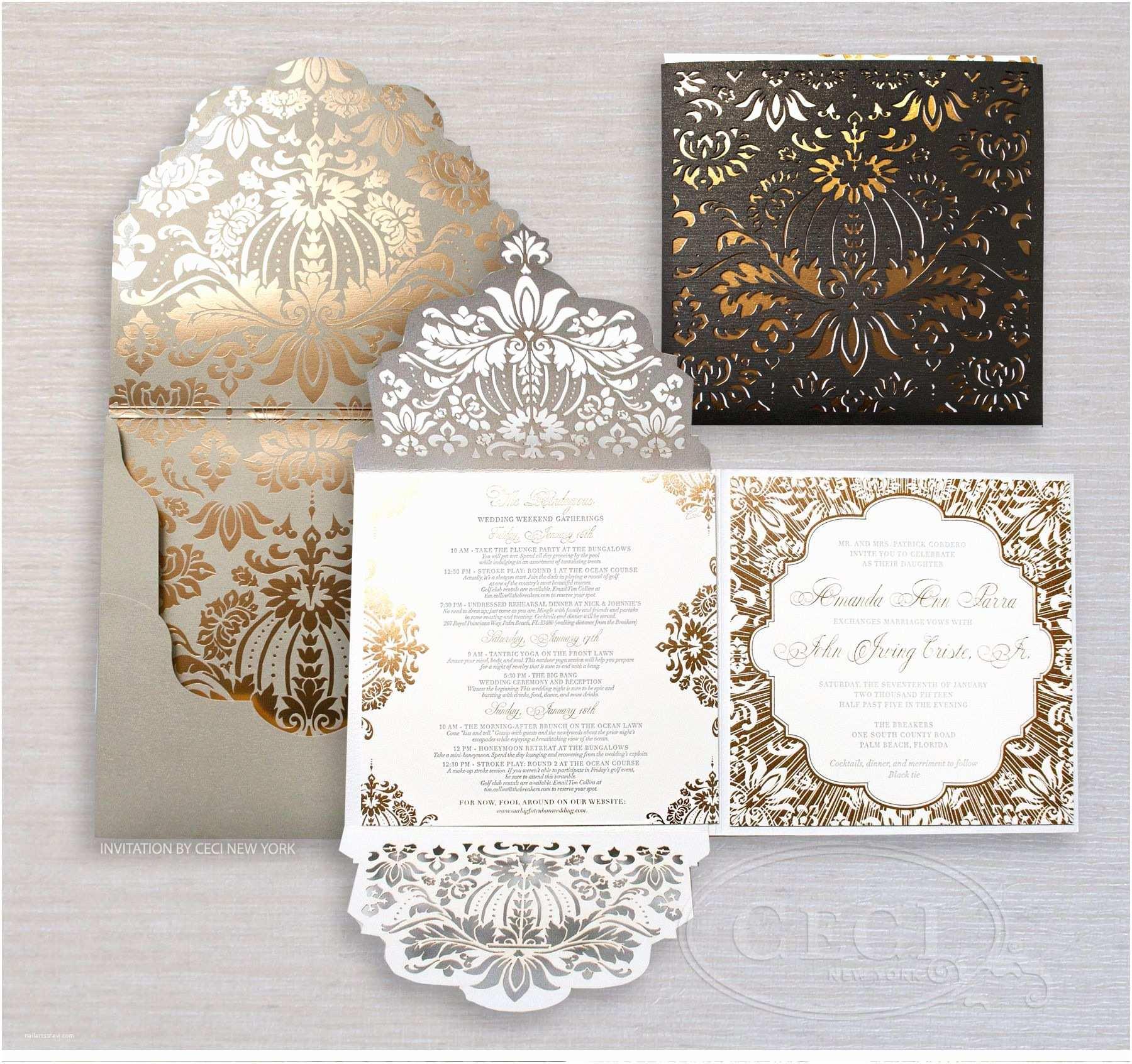 Luxury Wedding Invitations Black and Gold Wedding Invitations
