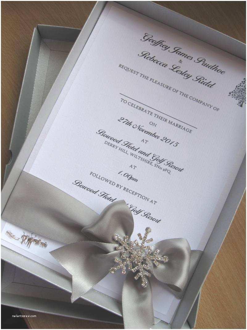 Luxury Wedding Invitations Winter themed Luxury Boxed Wedding Invitation