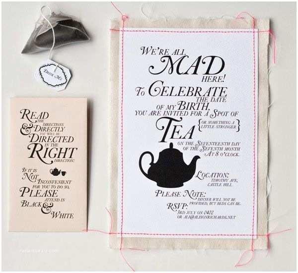 Mad Hatter Tea Party Invitations Alice In Wonderland Tea Party Invitation Wording