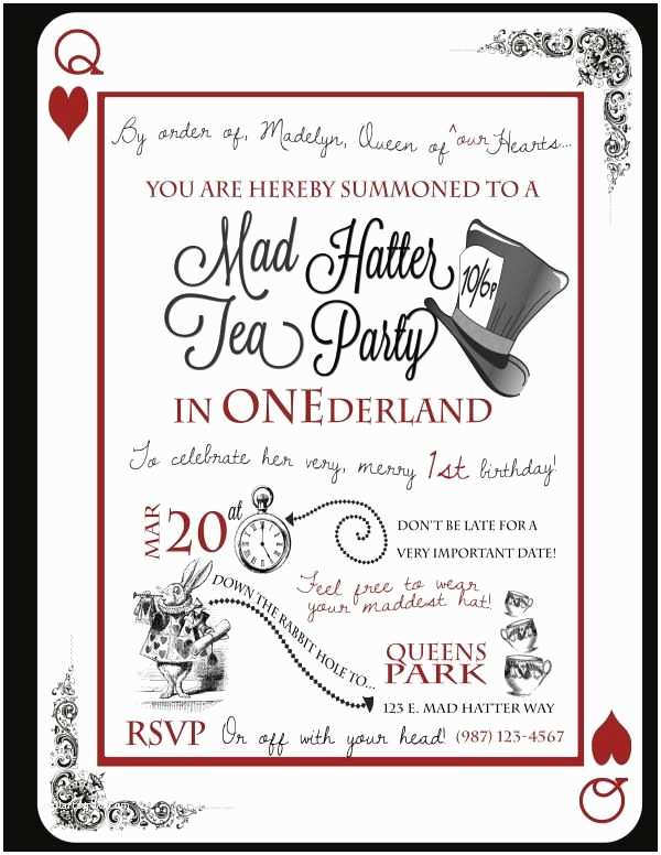 Mad Hatter Tea Party Invitations Cute Idea for A 1st Birthday A Tea Party In Onederland
