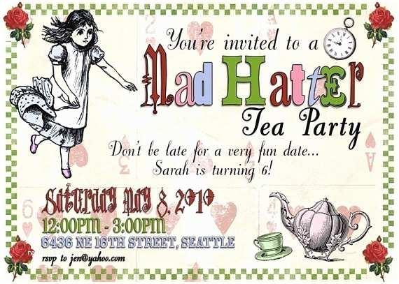 Mad Hatter Tea Party Invitations Items Similar to Mad Hatter Tea Party Digital Invitation