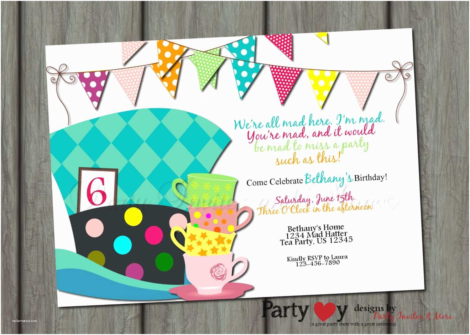 Mad Hatter Tea Party Invitations Mad Hatter Birthday Invitation Alice In by Partyinvitesandmore