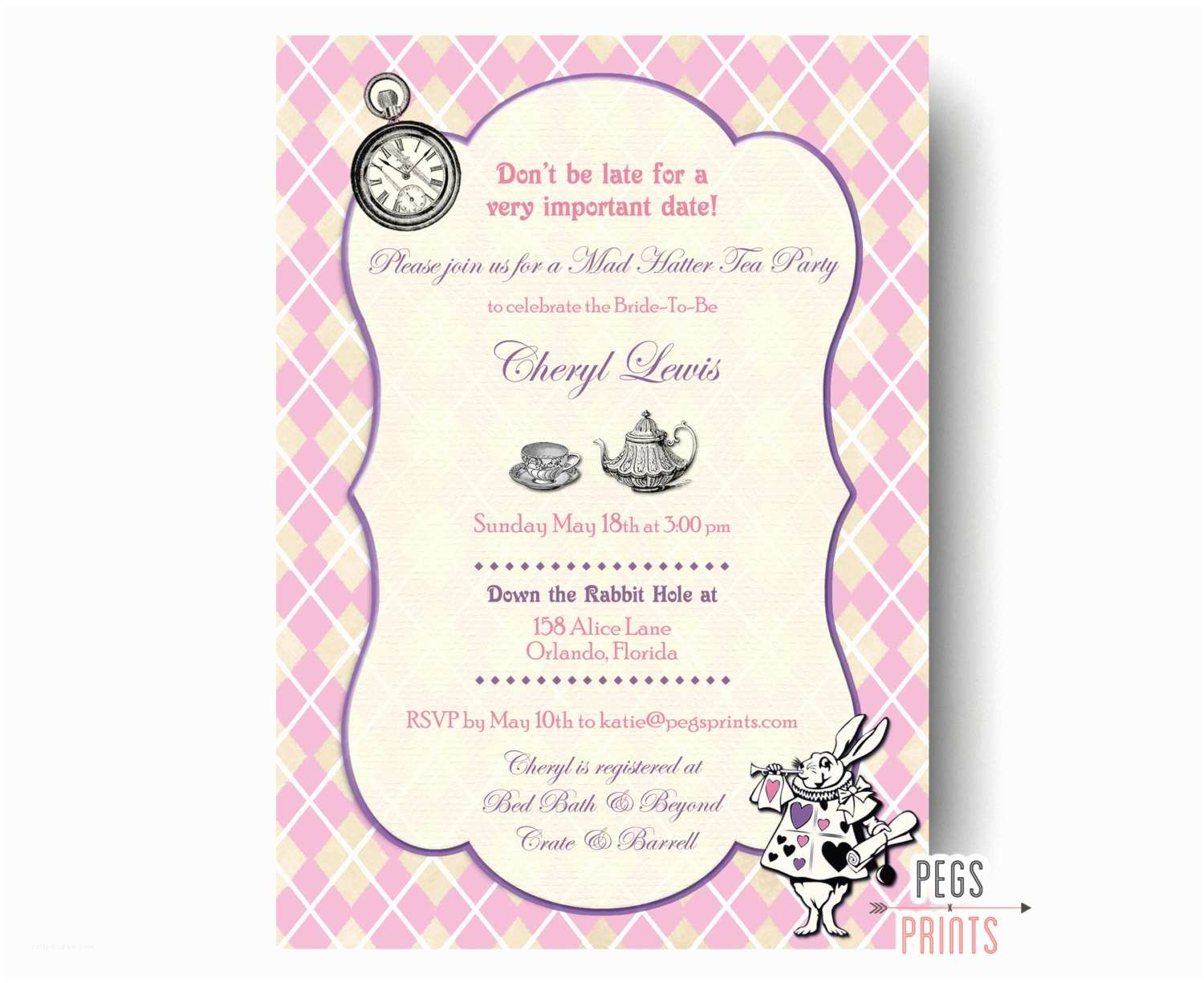 Mad Hatter Tea Party Invitations Mad Hatter Bridal Shower Invitation Mad Hatter Tea Party