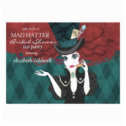 """Mad Hatter Tea Party Invitations Mad Hatter Bridal Shower Tea Party Invitation 5"""" X 7"""