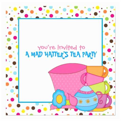 """Mad Hatter Tea Party Invitations Mad Hatter S Tea Party Invitations 5 25"""" Square Invitation"""