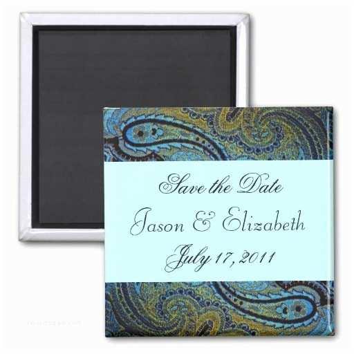 Magnet Wedding Invitations Teal Blue Paisley Peacock Wedding Invitations Fridge