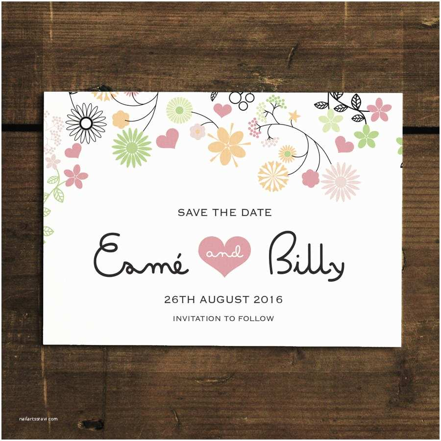 Magnet Wedding Invitations Whimsical Flowers Save the Date Card or Magnet by Feel