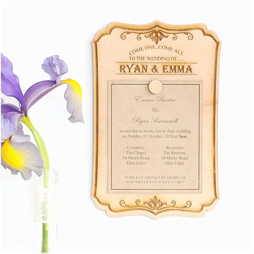 Magnet Wedding Invitations Wood Wedding Invitations that Can Be Re Used Vintage Sign