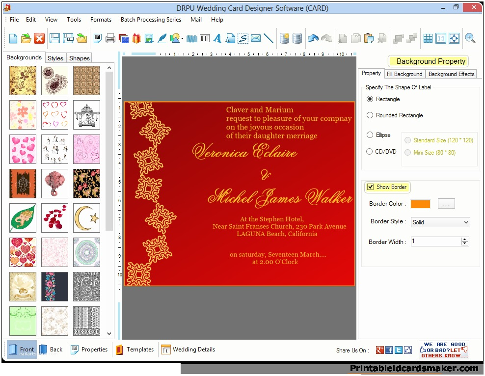 Make Your Own Wedding Invitations software Wedding Cards Maker software Designs Colorful Marriage