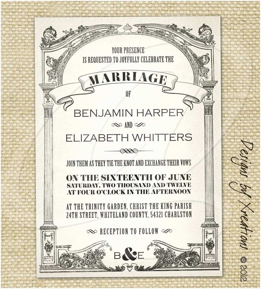 Make Your Own Wedding Invitations Templates Vintage Wedding Invitation Templates