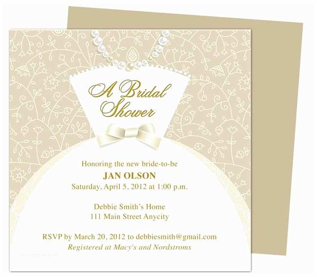 Make Your Own Wedding Shower Invitations Free Dress Bridal Shower Invitation Templates Printable Diy