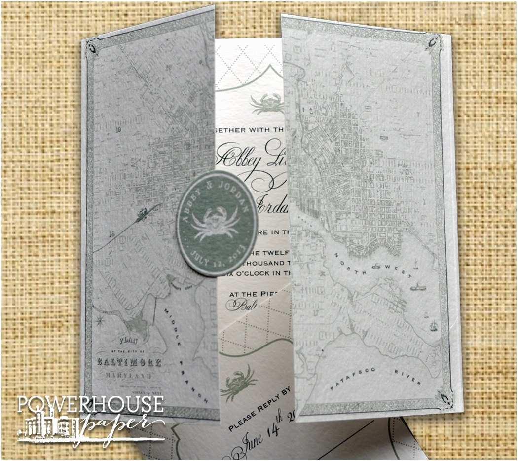 baltimore vintage map wedding invitation