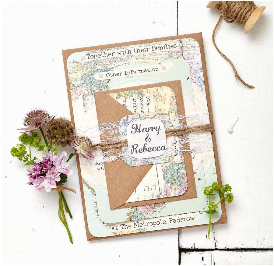 Map Cards for Wedding Invitations Travel Inspired Map Wedding Invitation Set by Peardrop