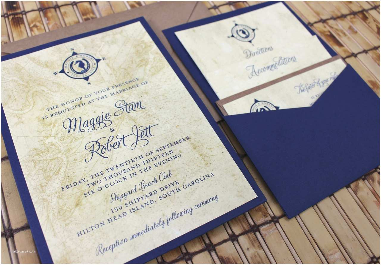 Map Cards for Wedding Invitations Vintage Map and Lucky Seahorse Wedding Invitation Pocket