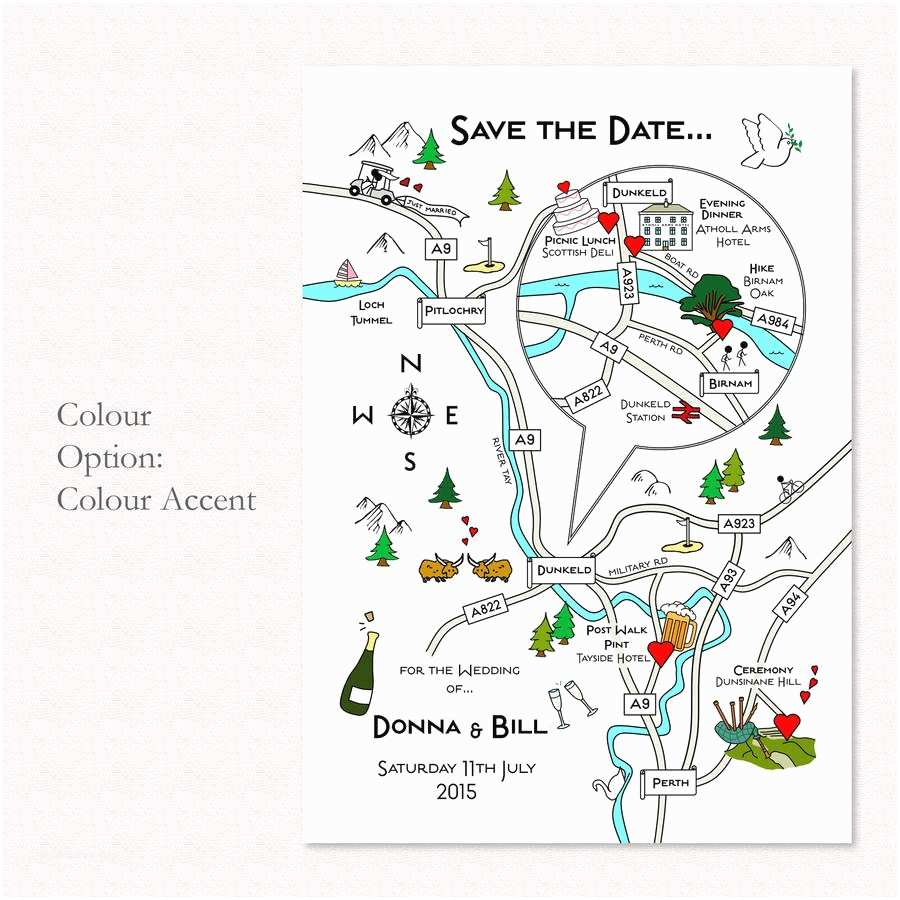 Map Cards for Wedding Invitations Wedding or Party Illustrated Map Invitation by Cute Maps