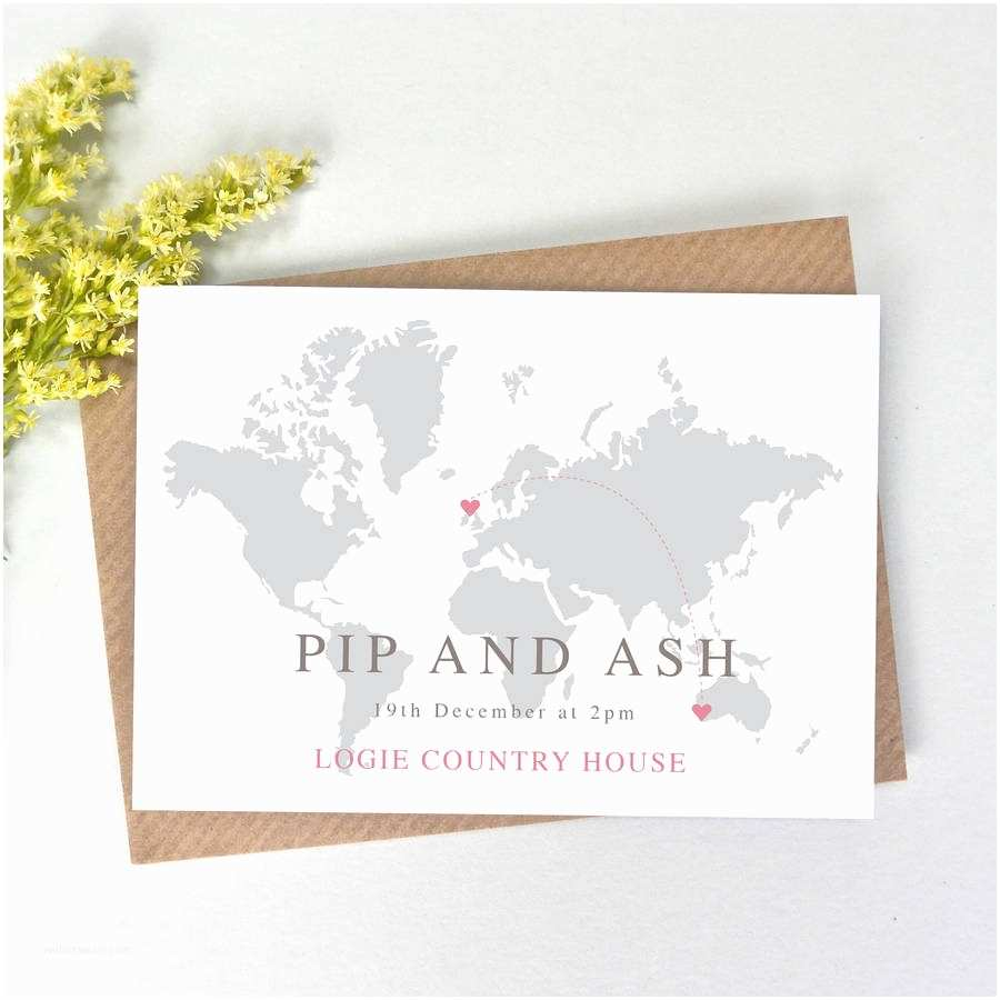 Map Cards for Wedding Invitations World Map Wedding Invitation by Paper and Inc