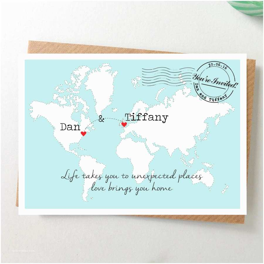 Map Cards for Wedding Invitations World Map Wedding Invitation Postcard by Paper and Inc