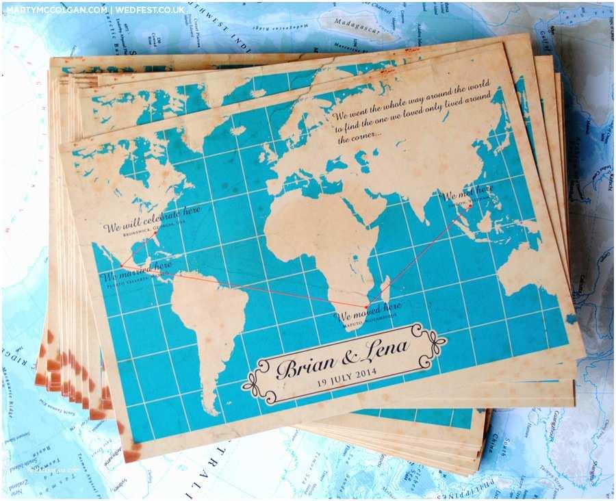 vintage map wedding invites