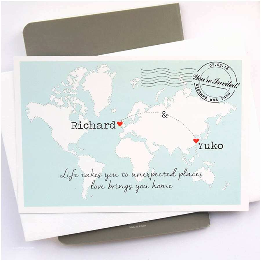 Map Wedding Invitations World Map Wedding Invitation Postcard by Paper and Inc