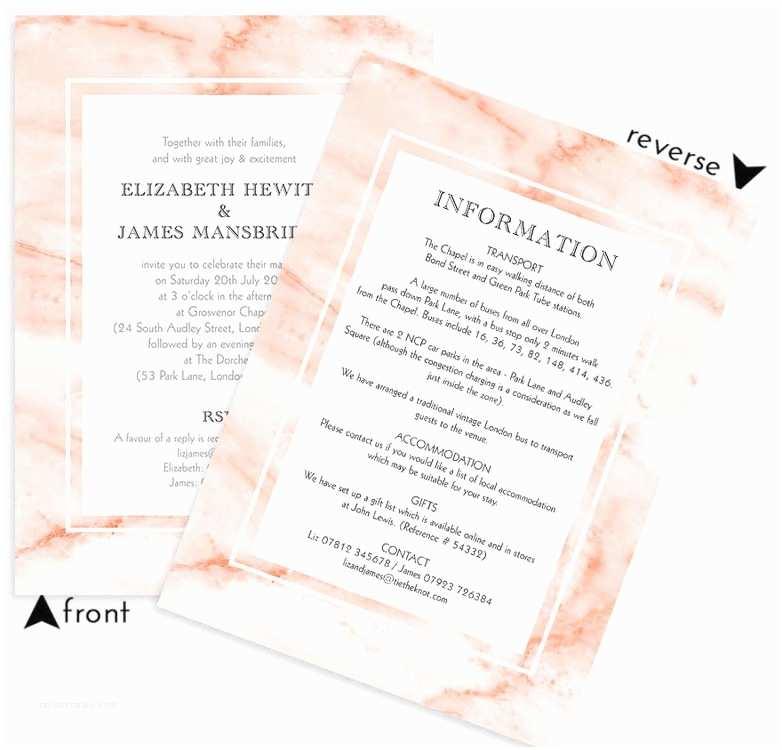Marble Wedding Invitations Blush Marble Wedding Invitation From £1 00 Each