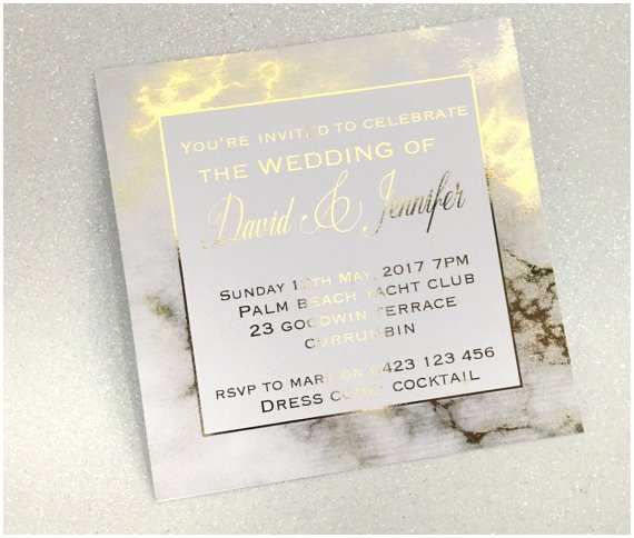 gold foil marble printed wedding