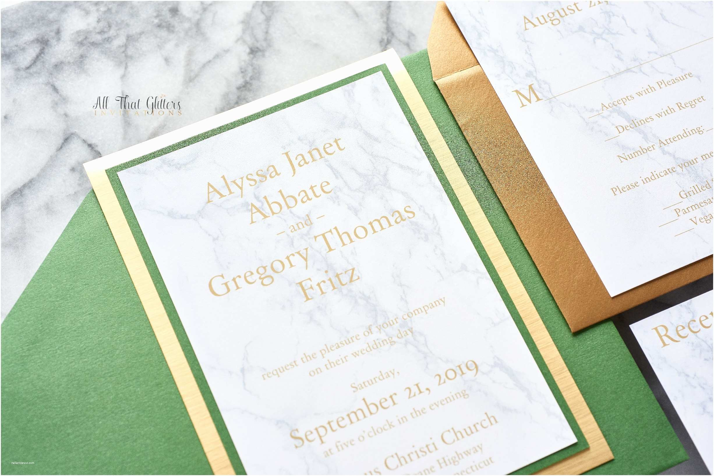 Marble Wedding Invitations Marble and Gold Foil Wedding Invitations