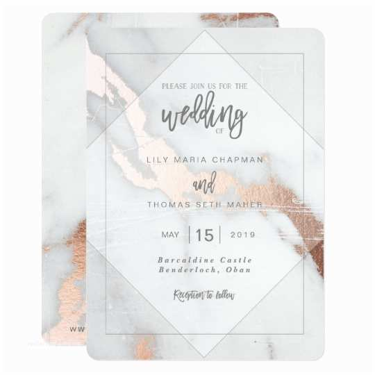 Marble Wedding Invitations Marble and Rose Gold Effect Wedding Invitation